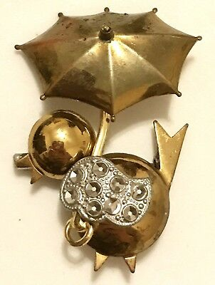 Vintage Gold Brass Duck Brooch Umbrella Pin Estate Antique Floral Just Ducky