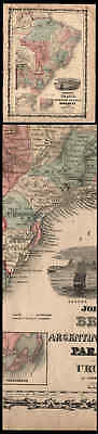 Old 1860 Color Map Of Brazil Argentina Paraguay Urugray