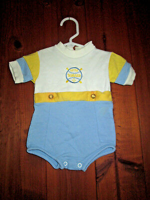 Vintage Baby Boy Girl One Piece White Blue Yellow Romper Baseball Slugger 0-3 mo