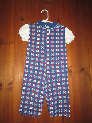 Vintage Baby Girl One Piece Red White Blue Flower Jumper Healthtex 24 mo