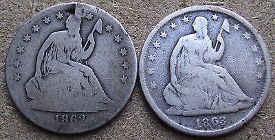 1862-S & 1863-S Seated Half Dollars, Civil War San Francisco Dates Problem Coins