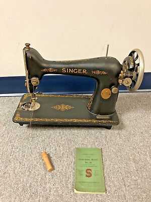 Vintage Singer Sewing Machine MODEL 66 antique head w Instruction Manual papers