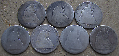 (7) Seated Half Dollars, Problem/Lowgrade Coins,1844,1845,1859,1854-O,1877-P & S