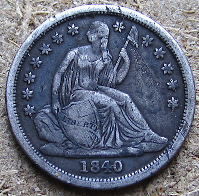 1840 No Drapery Liberty Seated Dime, Early Date, Crusty Type Coin, VF Details
