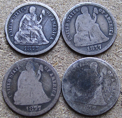 Lot of (4) 1877-CC Liberty Seated Dimes, Carson City, Problem/Lowgrade Coins