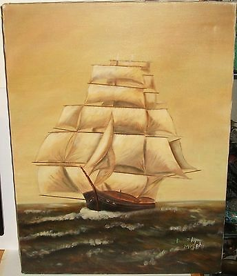 Dorothy Murphy Sailing Ship Oil On Canvas Seascape Painting