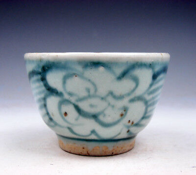 Antique Blue&White Glazed Porcelain Flower Blossoms Hand Painted Cup #07291801R