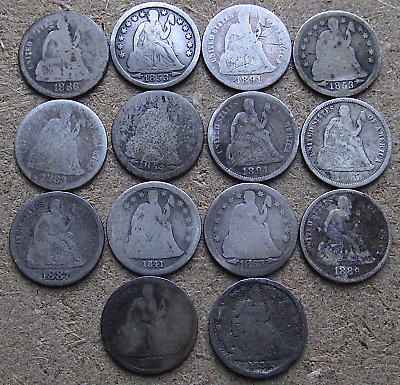 Lot of (14) Liberty Seated Dimes, Mixed Dates 1841-1891-O Problem/Lowgrade Coins