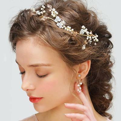 Leaf Flower Pearl Headband Bridal Headpiece Headdress Wedding Bride Tiaras