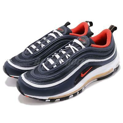 timeless design fe453 63463 Nike Air Max 97 Midnight Navy Habanero Red Men Running Shoes Sneakers 921826 -403