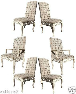 Set 6 Italian Hollywood Regency Venetian Rococo Ribbon Carved Back Dining Chairs