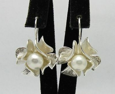 Sterling silver earrings solid 925 Flowers with 8mm synthetic pearl E000296