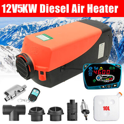 5KW 12V Diesel Air Heater 10L Tank LCD Switch Remote For Trucks Boat Car Trailer