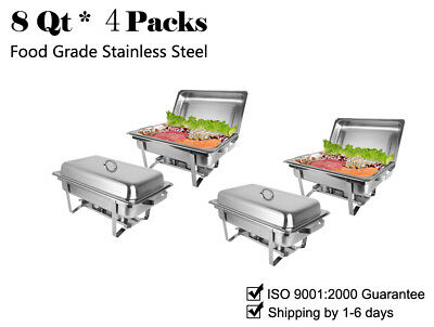 Rovsun 4 PACK CHAFING DISH SETS BUFFET CATERING STAINLESS STEEL FOLDING CHAFER