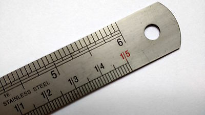 """6"""" 150mm Stainless steel ruler conversion table TAP Drill size increments in Red"""