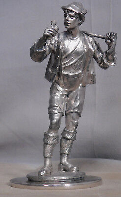 Antique European Silver Plate Spelter Statue HANDSOME Young Man Alpine Climber