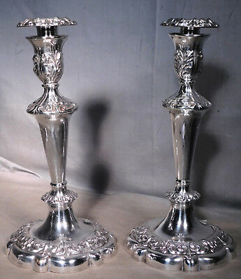 Pair Antique 1868 Gorham Victorian baroque Repousse Silver Plated candlesticks