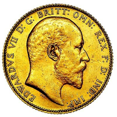 1906 King Edward VII Great Britain Gold Sovereign Coin