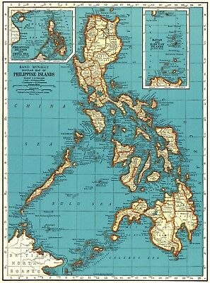 1942 Vintage PHILIPPINES Map of the Philippine Islands Gallery Wall Art #5731