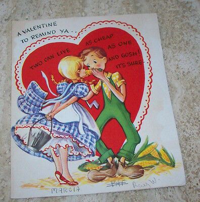 Vintage VALENTINE Card - A-MERI-CARD - Young Couple Eating Corn - Big Heart