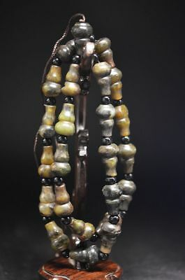 Exquisite China Hand Carved jade gourd shape pray Lucky Necklace  Y27