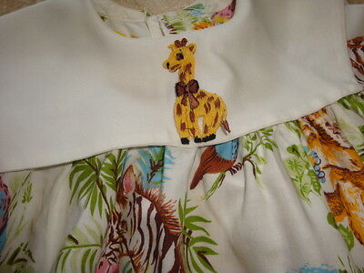 Vintage Baby Toddler Girl's Dress - ZOO ANIMALS and Habitats / Scenery DARLING