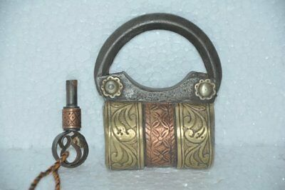 Old Iron Unique Brass & Copper Fitted Handcrafted Solid Screw Padlock