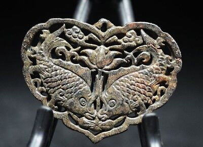 Exquisite Chinese old jade carved Two-sided *fish* amulet pendant  Y27