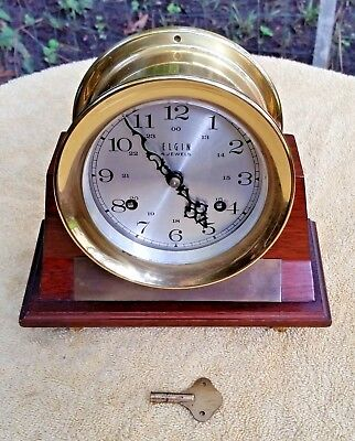 Vintage Elgin 4 Jewels Brass Ships Clock In Wooden Display Stand With Plaque
