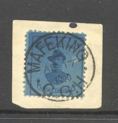 SOUTH AFRICA , MAFEKING , 3d blue stamp used on piece , superb 1900 cancel