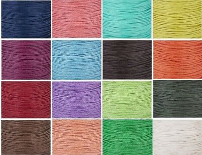 Waxed Cotton Cord 1mm  Jewellery Making Stringing 19 colours to choose from