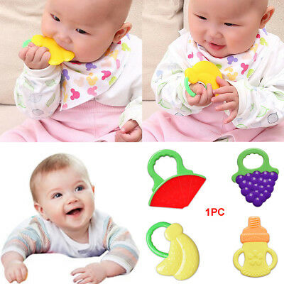 Kid Baby Infant Toddler Rattles Biting Teething Teether Safety Ring Silicone Toy