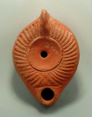Large Roman Terracotta Decorated Oil Lamp (M8)