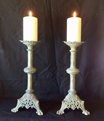 A Good Pair of Antique French Metal Pricket Candlesticks C1850