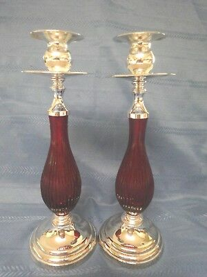 "Vintage Pair of 11"" Tall Studio Silversmith's  Ruby Red Glass Candlestick's"