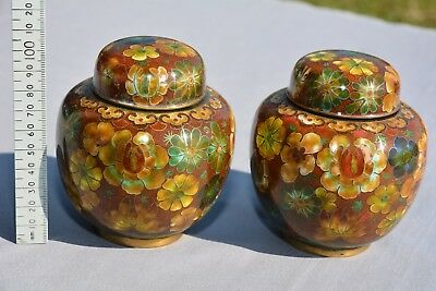 A pair of antique / vintage CHINESE CLOISONNE jars and covers. 100mm high