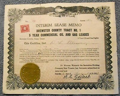 1921 Stock Certificate BREWSTER COUNTY Texas Oil Gas Leases