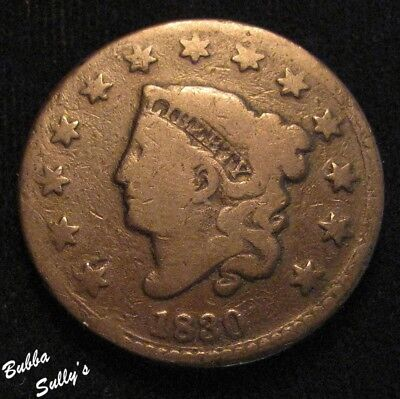 1830 Coronet Head Large Cent <> N-10 R4 Early Die State <> VERY GOOD