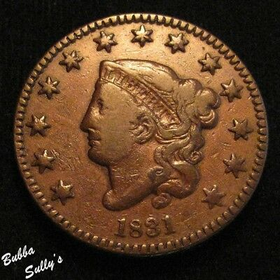 1831 Coronet Head Large Cent <> N-5 R4 Early Die State <> FINE +
