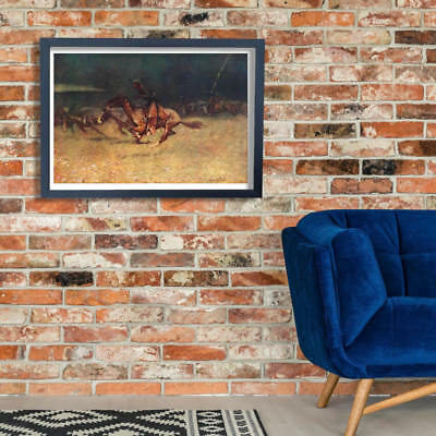 Frederic Remington Stampede by Lightning Wall Art Poster Print