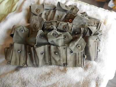 WW2 USGI  M-1 garand cartridge belt 10 pocket klikit pull early war