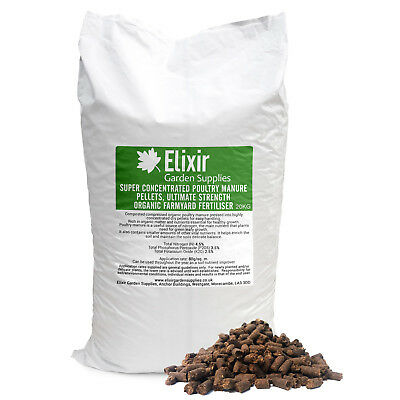 Chicken Poultry Organic Concentrated Farm yard Manure Pellets 20Kg Fertiliser