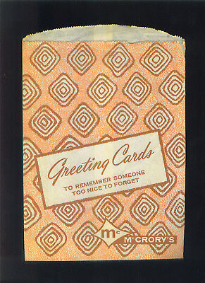 Vintage McCRORY'S Department Store Paper Bag Greeting Cards 1960s ?