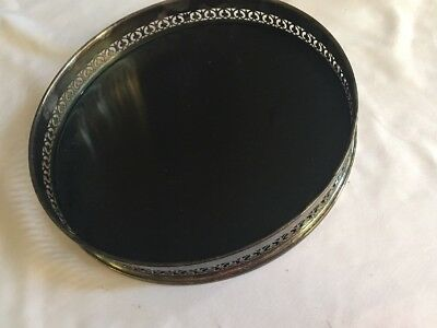 "L-ITALY Silver and Black Laminated Plastic Round Tray UNKNOWN MAKER 10"" HIGH SDS"