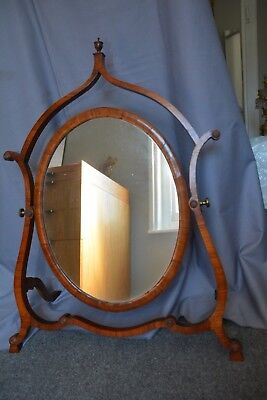 Georgian style ANTIQUE sloped & tilted dressing table mirror. 70cm high.