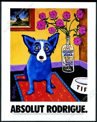 1994 Absolut Rodrigue blue dog George Rodrigue vodka bottle art vintage print ad