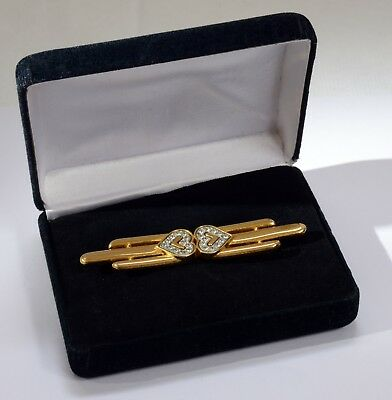 Stunning Vintage Gilt Metal Art Deco Style Brooch Set with Stones in Case. 7.5cm