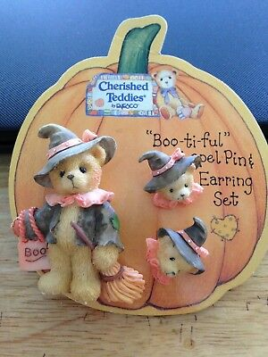 Cherished Teddies Halloween Lapel Pin & Earrings Set, Used But On Card