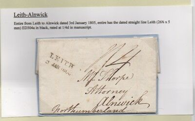 1805 LEITH Entire Letter to ALNWICK, Manuscript '1/4' LEITH STRAIGHT LINE