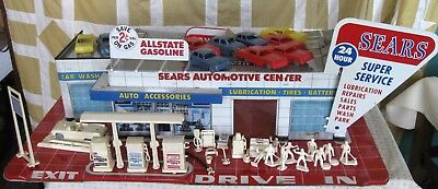 VINTAGE TIN TOY Sears Automotive Center Service Garage Cars Accessories Marx